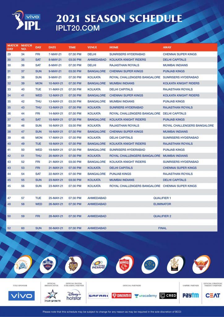 IPL 2021 Schedule Download, IPL 2021 Time Table Download